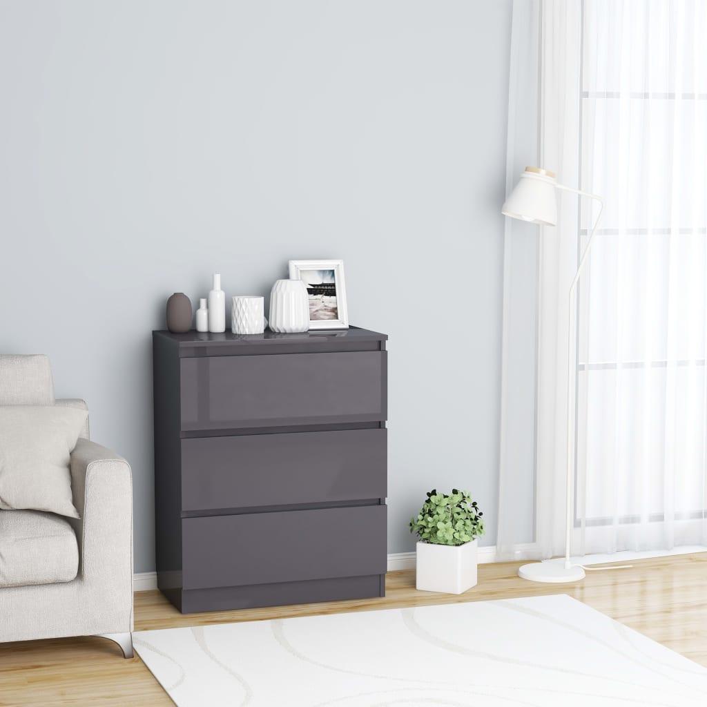 vidaXL Příborník šedý s vysokým leskem 60 x 35 x 76 cm dřevotříska
