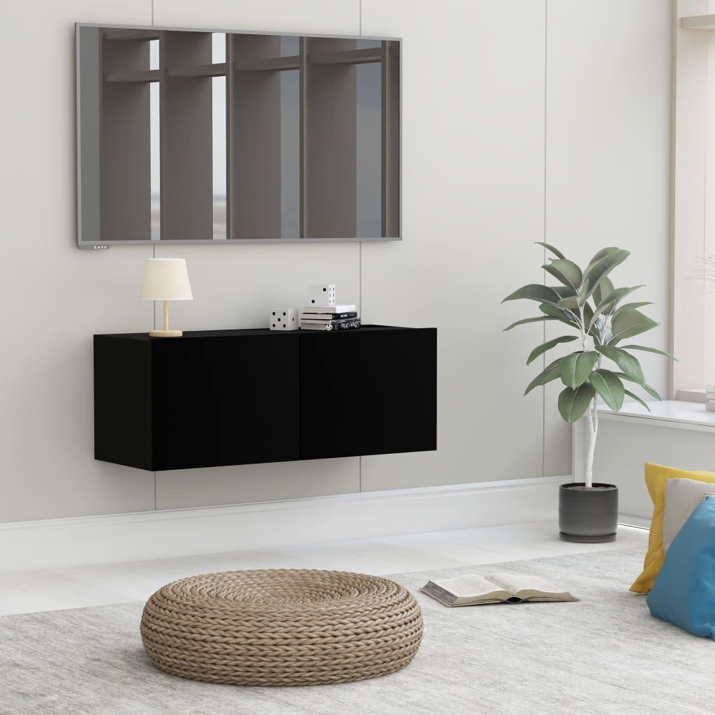 TV stolek černý 80 x 30 x 30 cm dřevotříska