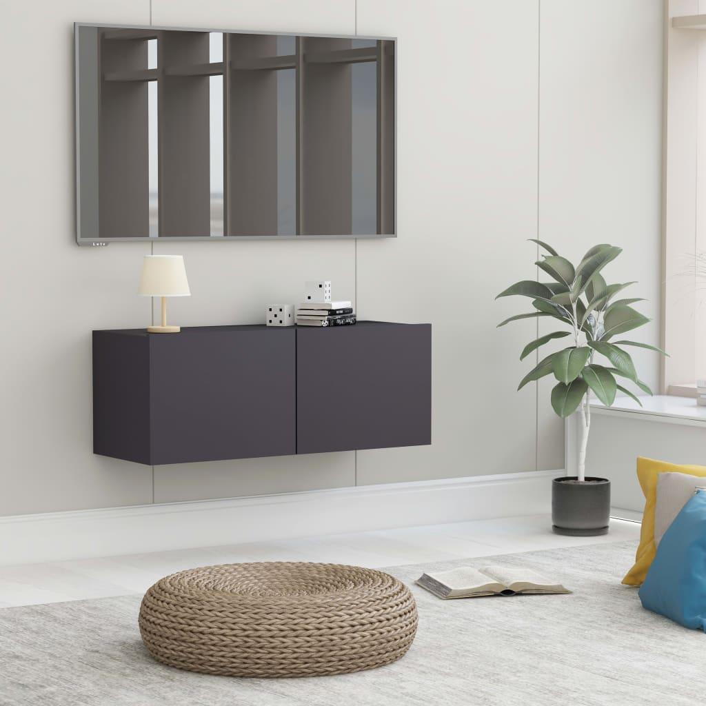 TV stolek šedý 80 x 30 x 30 cm dřevotříska