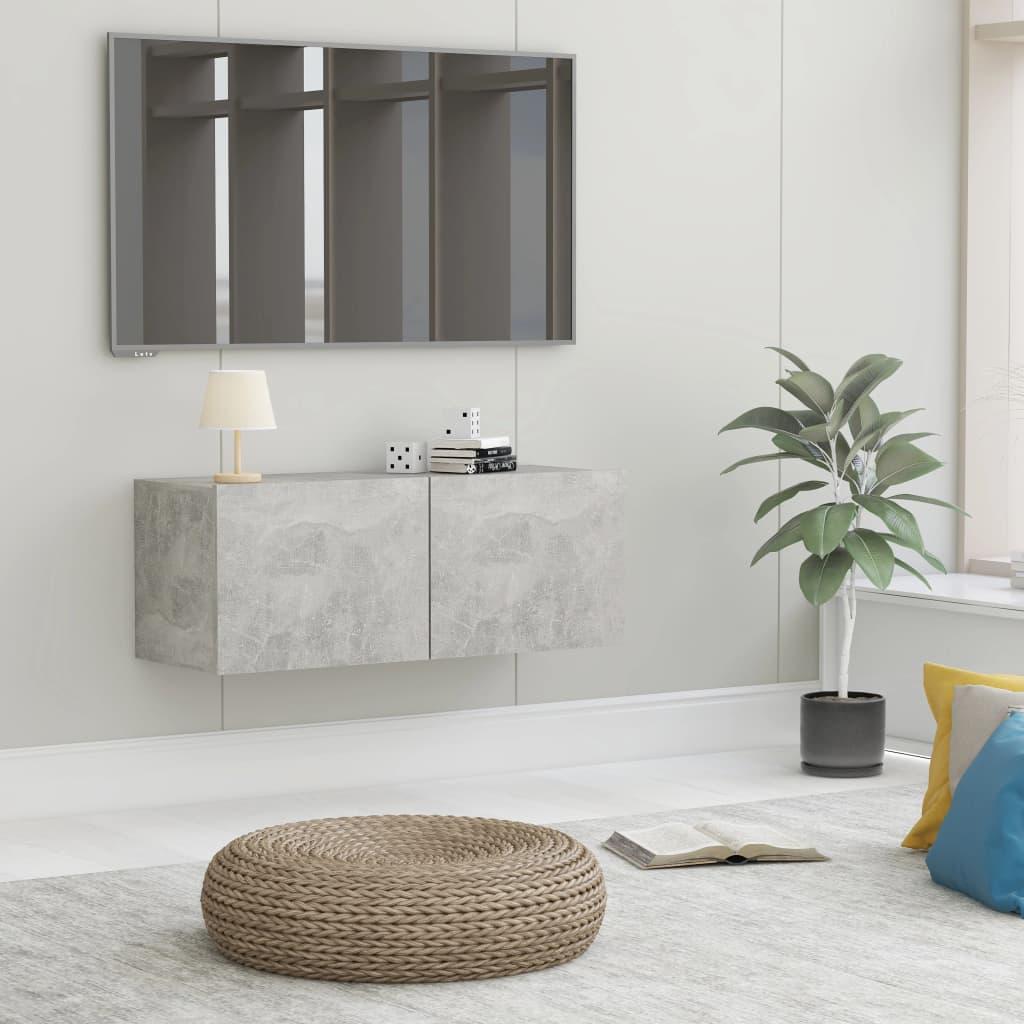 TV stolek betonově šedý 80 x 30 x 30 cm dřevotříska