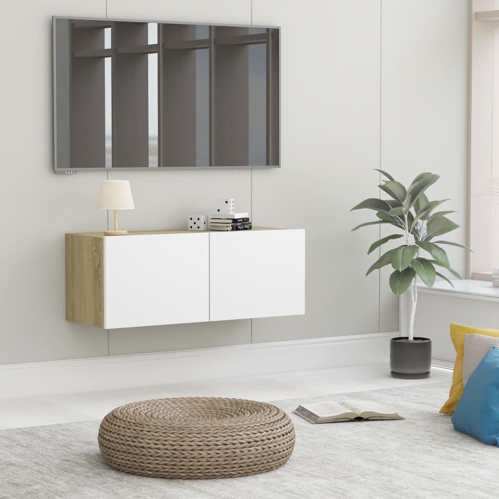 TV stolek bílý a dub sonoma 80 x 30 x 30 cm dřevotříska