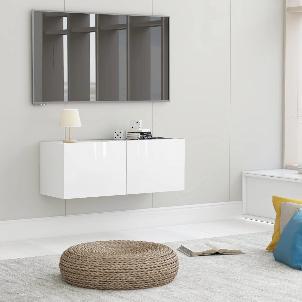 TV stolek bílý s vysokým leskem 80 x 30 x 30 cm dřevotříska