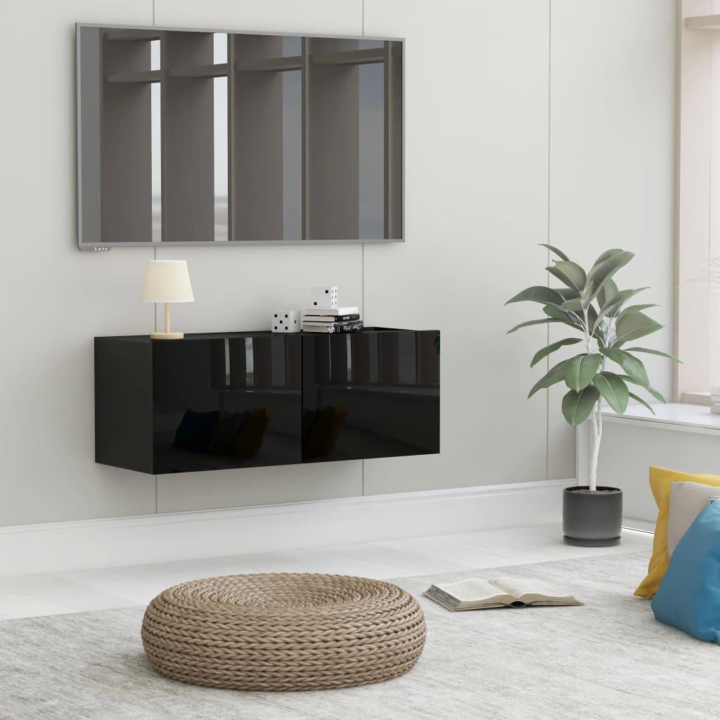 TV stolek černý s vysokým leskem 80 x 30 x 30 cm dřevotříska