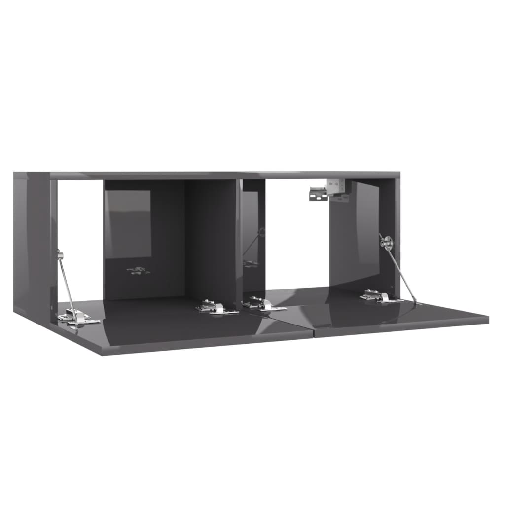 vidaXL Tv-meubel 80x30x30 cm spaanplaat hoogglans grijs