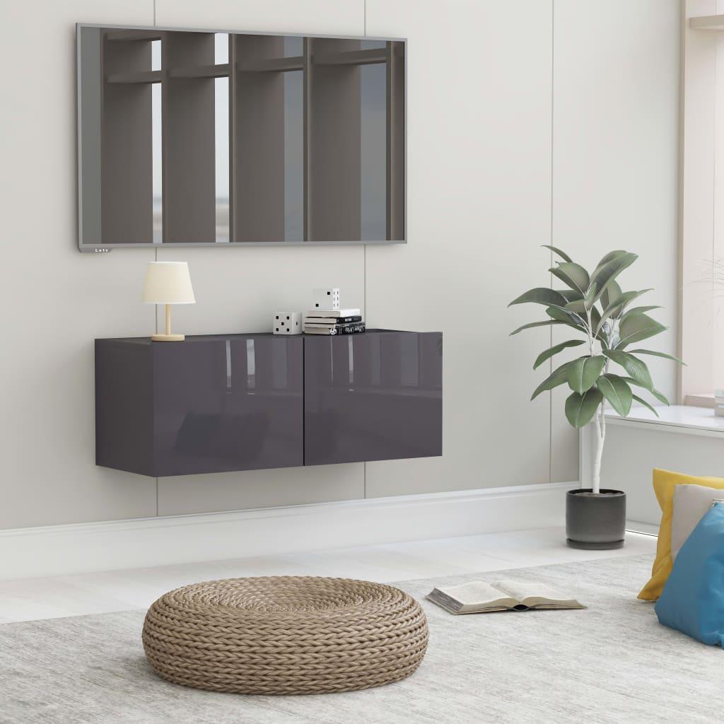 TV stolek šedý s vysokým leskem 80 x 30 x 30 cm dřevotříska