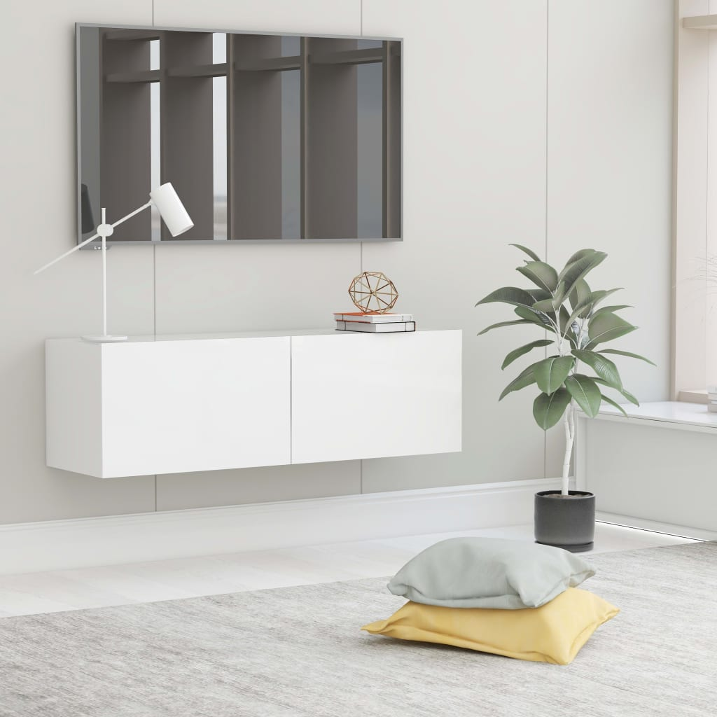 TV stolek bílý 100 x 30 x 30 cm dřevotříska