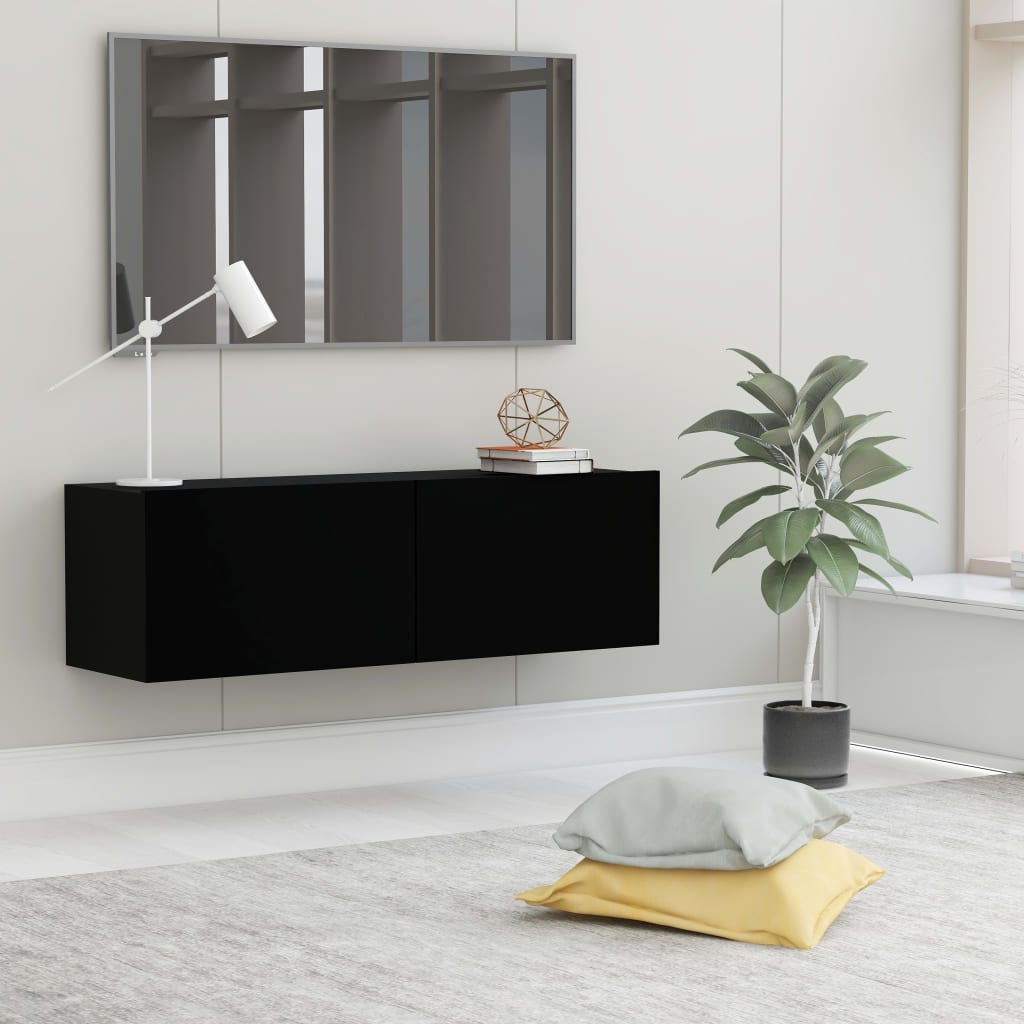 TV stolek černý 100 x 30 x 30 cm dřevotříska