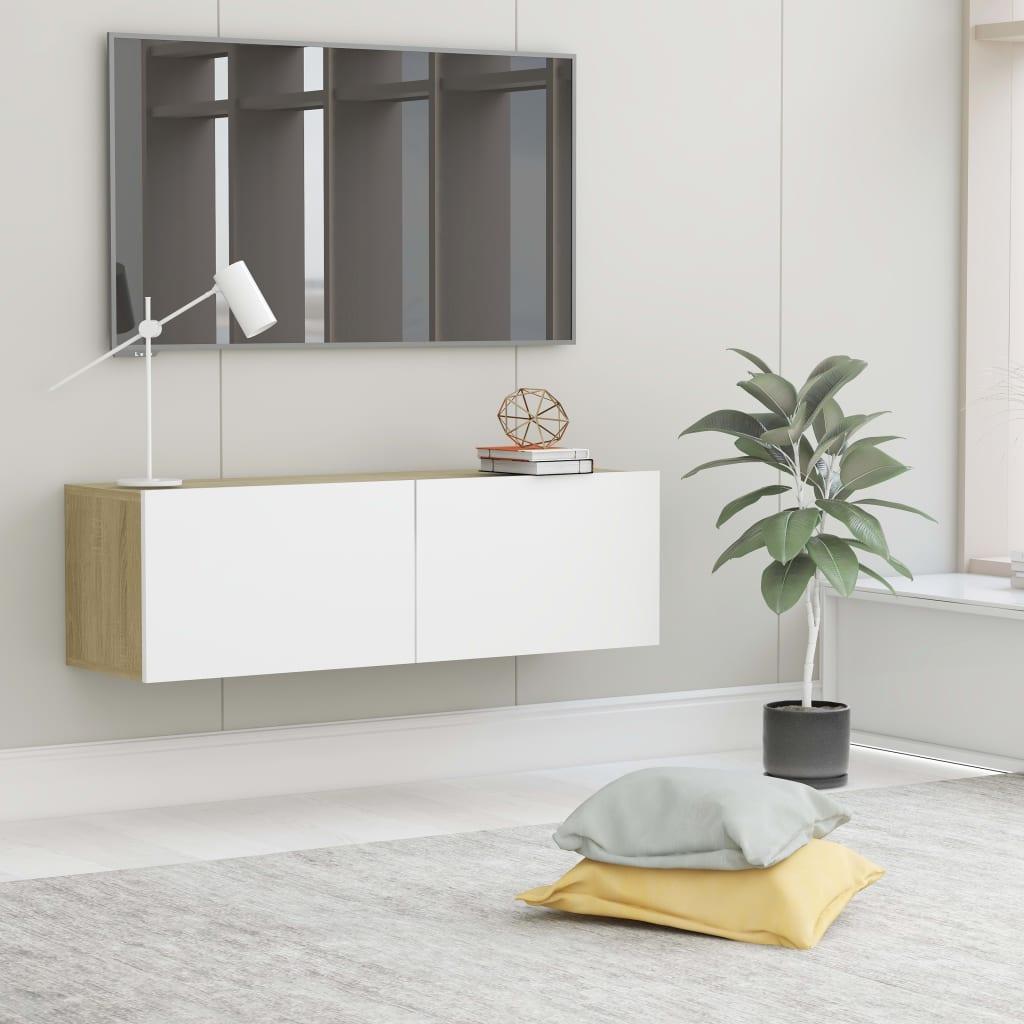 TV stolek bílý a dub sonoma 100 x 30 x 30 cm dřevotříska