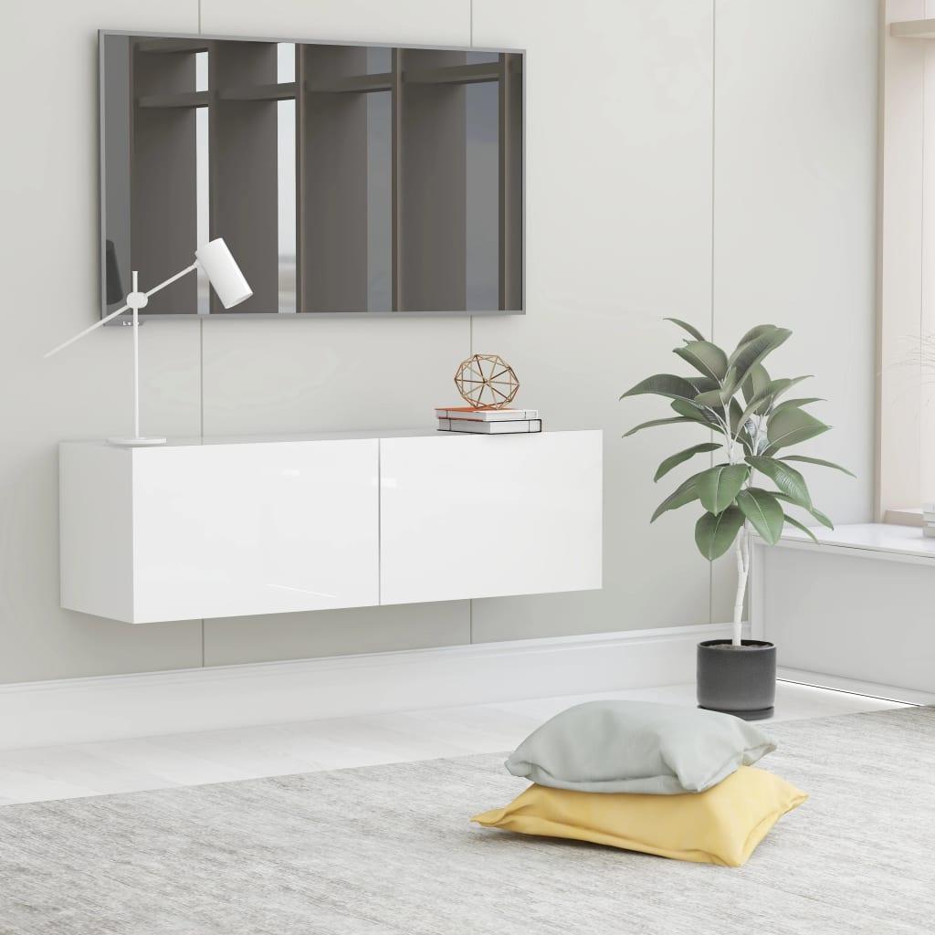 TV stolek bílý s vysokým leskem 100 x 30 x 30 cm dřevotříska