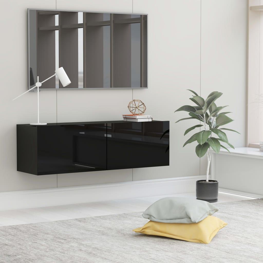 TV stolek černý s vysokým leskem 100 x 30 x 30 cm dřevotříska
