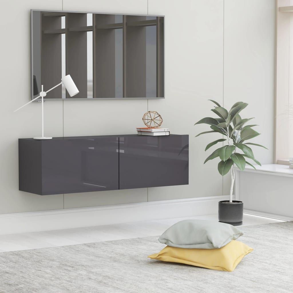 TV stolek šedý s vysokým leskem 100 x 30 x 30 cm dřevotříska