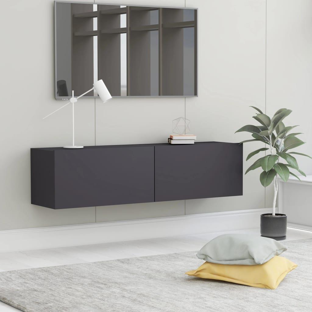 TV stolek šedý 120 x 30 x 30 cm dřevotříska