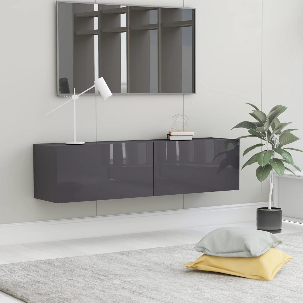 TV stolek šedý s vysokým leskem 120 x 30 x 30 cm dřevotříska