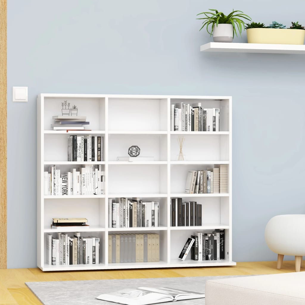vidaXL Dulap pentru CD-uri, alb, 102 x 23 x 89,5 cm, PAL imagine vidaxl.ro