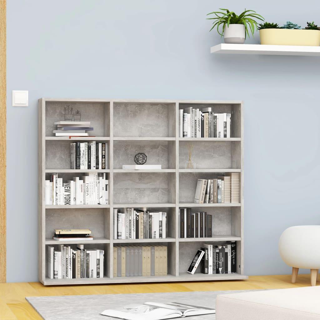 vidaXL Dulap pentru CD-uri, gri beton, 102 x 23 x 89,5 cm, PAL imagine vidaxl.ro