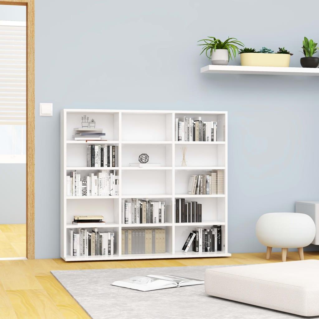 vidaXL Dulap pentru CD-uri, alb extralucios, 102 x 23 x 89,5 cm, PAL imagine vidaxl.ro