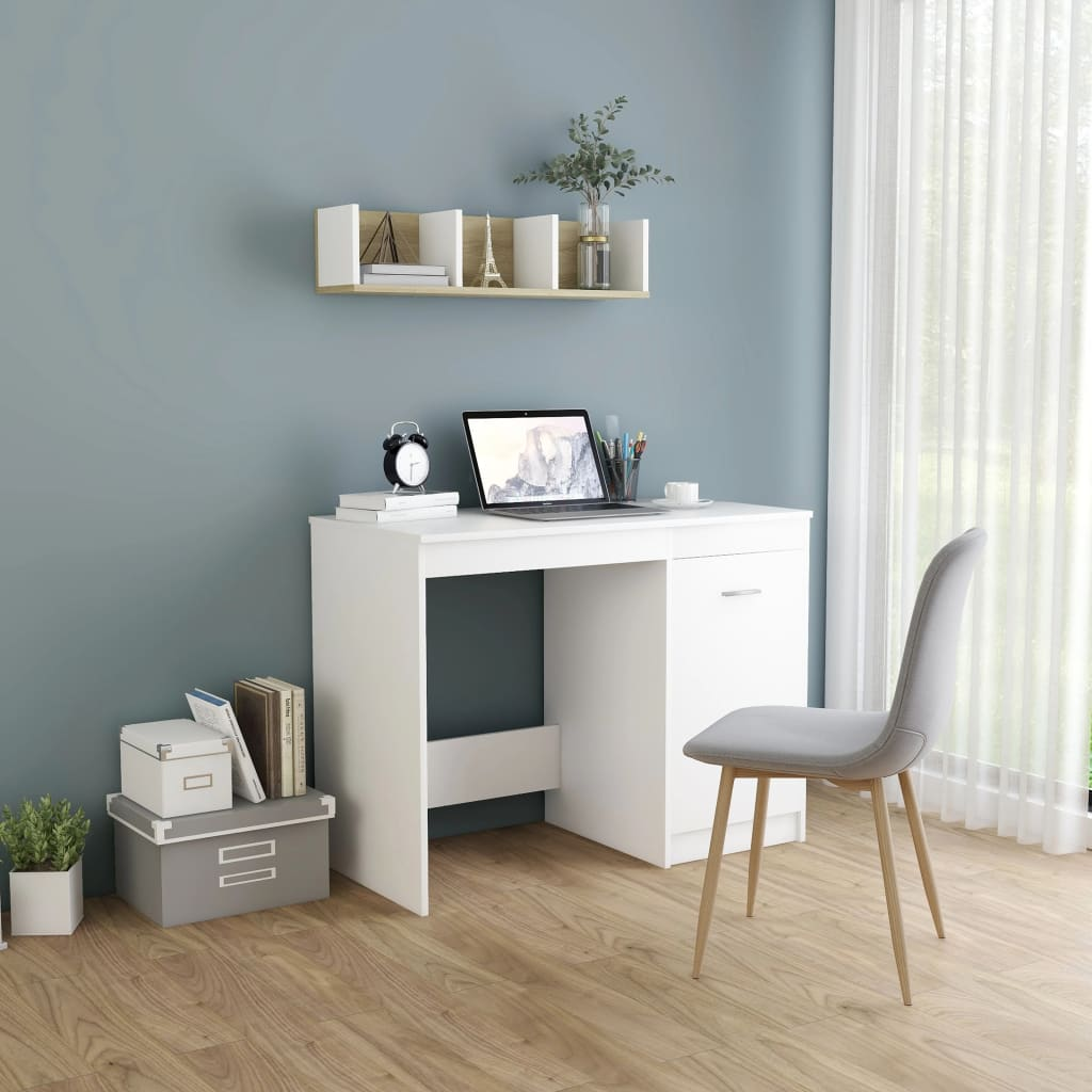 Psací stůl bílý 100 x 50 x 76 cm dřevotříska