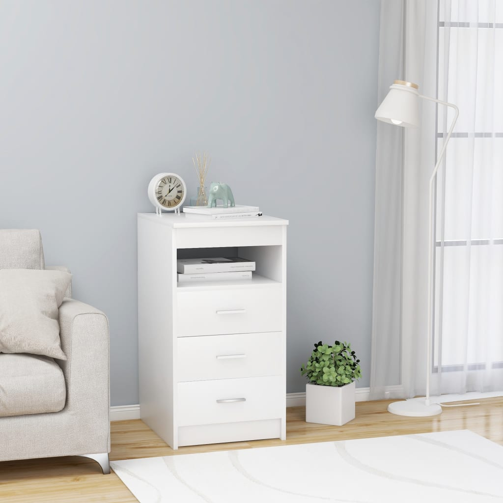 vidaXL Dulap cu sertare, alb, 40 x 50 x 76 cm, PAL vidaxl.ro