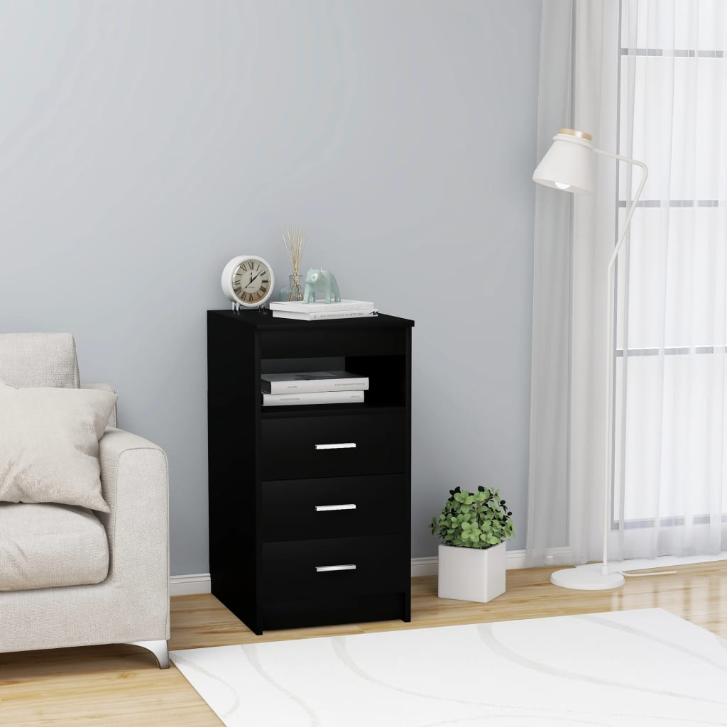 vidaXL Dulap cu sertare, negru, 40 x 50 x 76 cm, PAL vidaxl.ro
