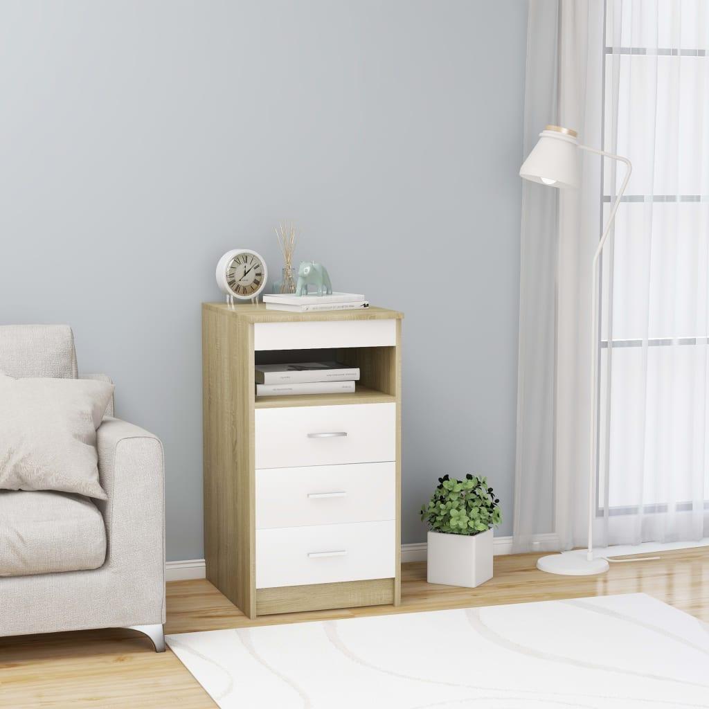 vidaXL Dulap cu sertare, alb și stejar Sonoma, 40 x 50 x 76 cm, PAL vidaxl.ro