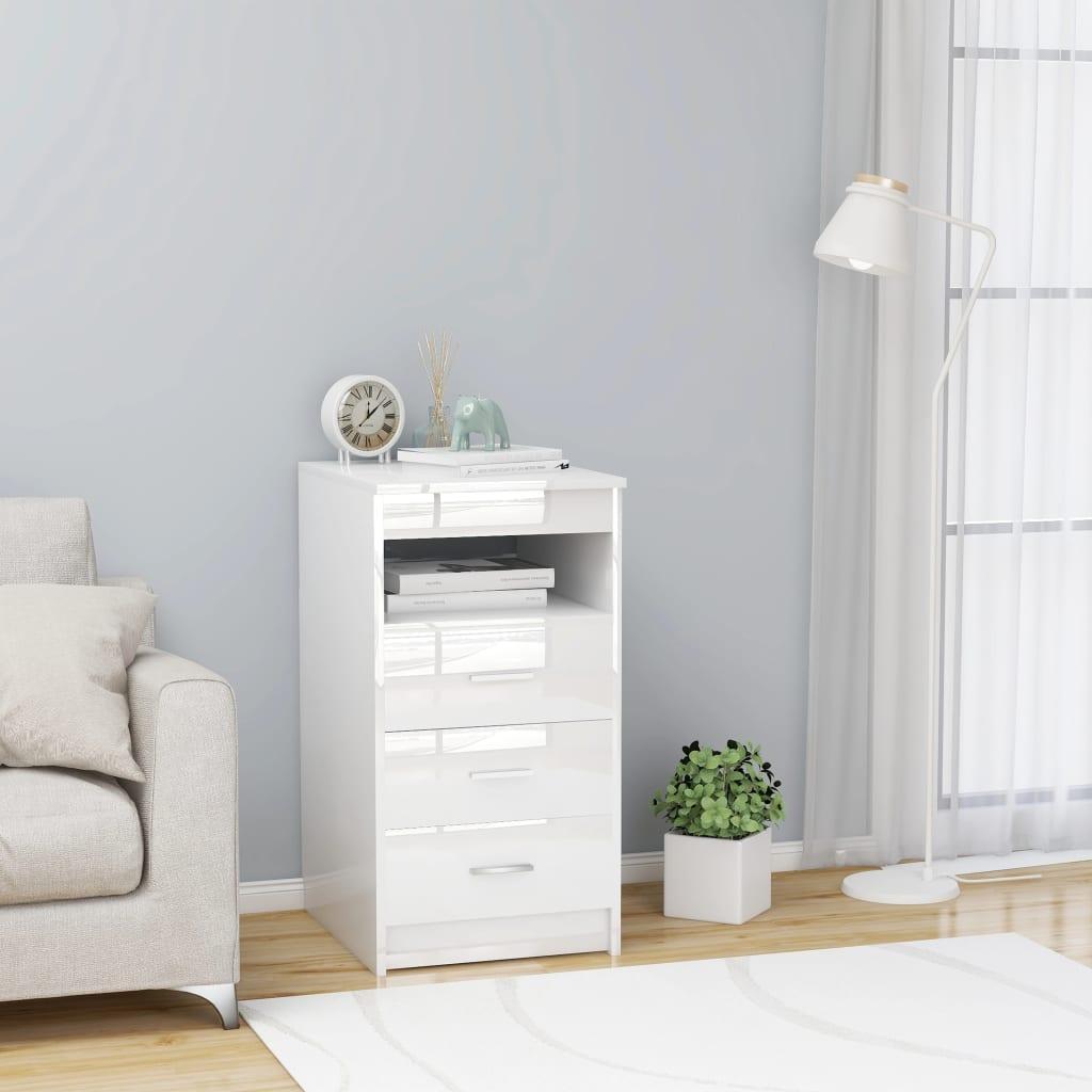 vidaXL Dulap cu sertare, alb extralucios, 40 x 50 x 76 cm, PAL vidaxl.ro