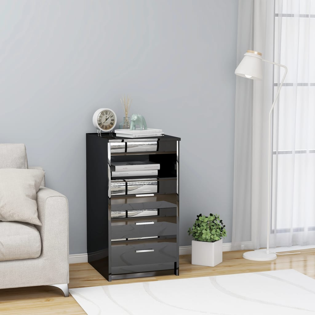 vidaXL Dulap cu sertare, negru extralucios, 40 x 50 x 76 cm, PAL vidaxl.ro