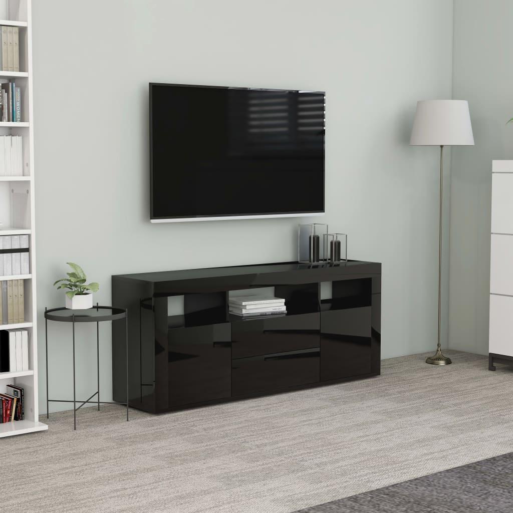 vidaXL Comodă TV, negru extralucios, 120 x 30 x 50 cm, PAL poza vidaxl.ro