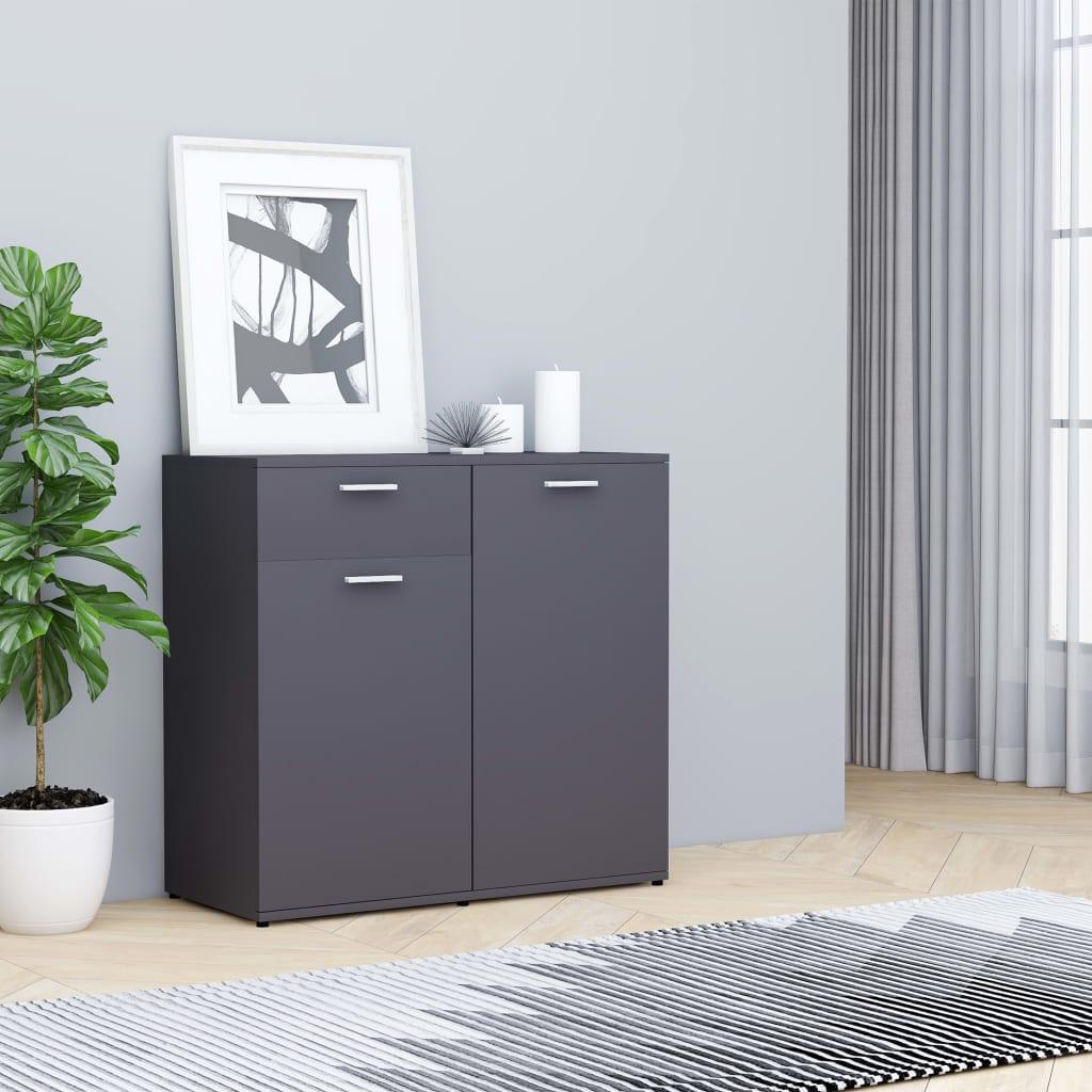 vidaXL Příborník šedý 80 x 36 x 75 cm dřevotříska