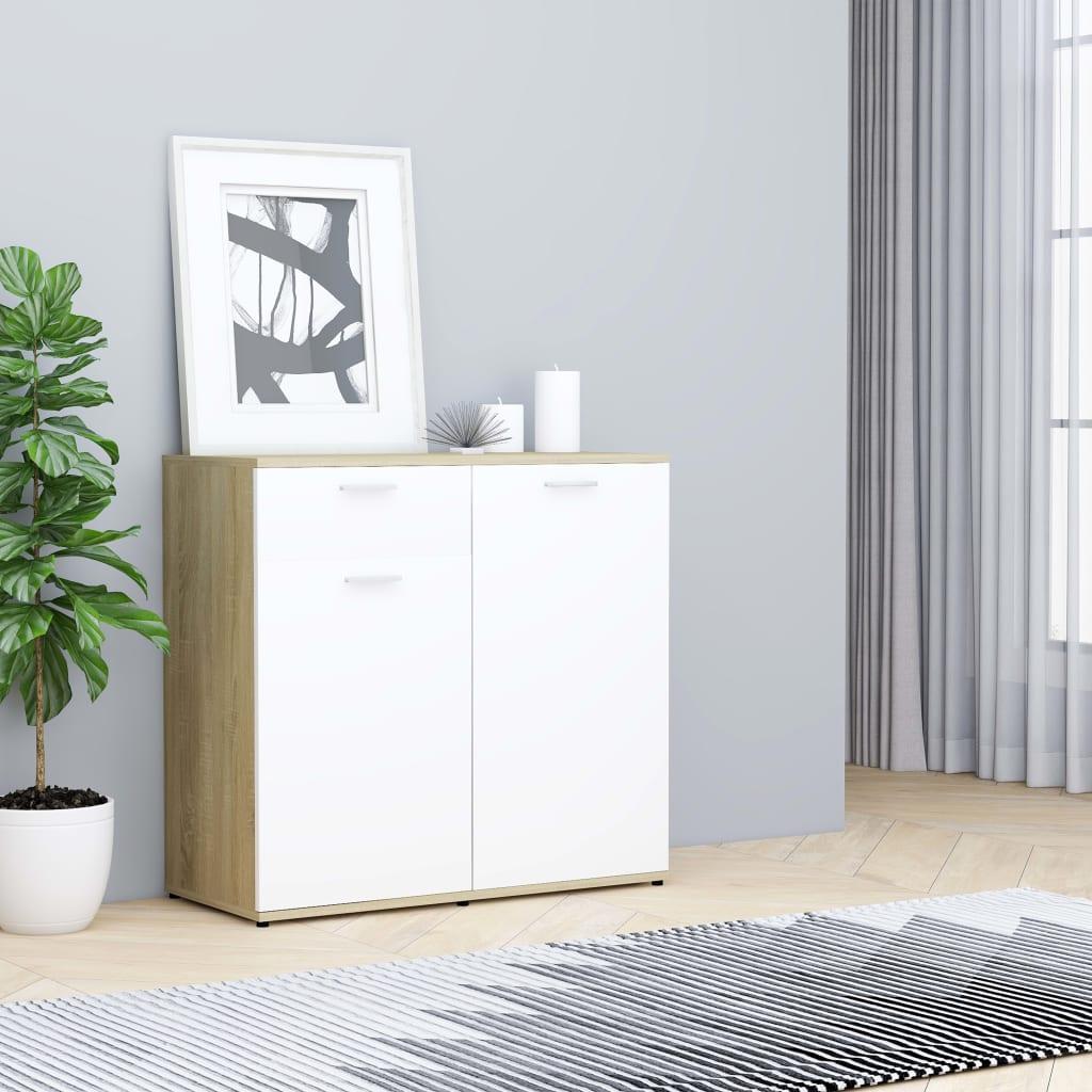 vidaXL Příborník bílý a dub sonoma 80 x 36 x 75 cm dřevotříska