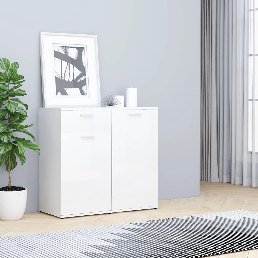 Puhvetkapp, kõrgläikega, valge 80 x 36 x 75 cm, puitlaastplaat