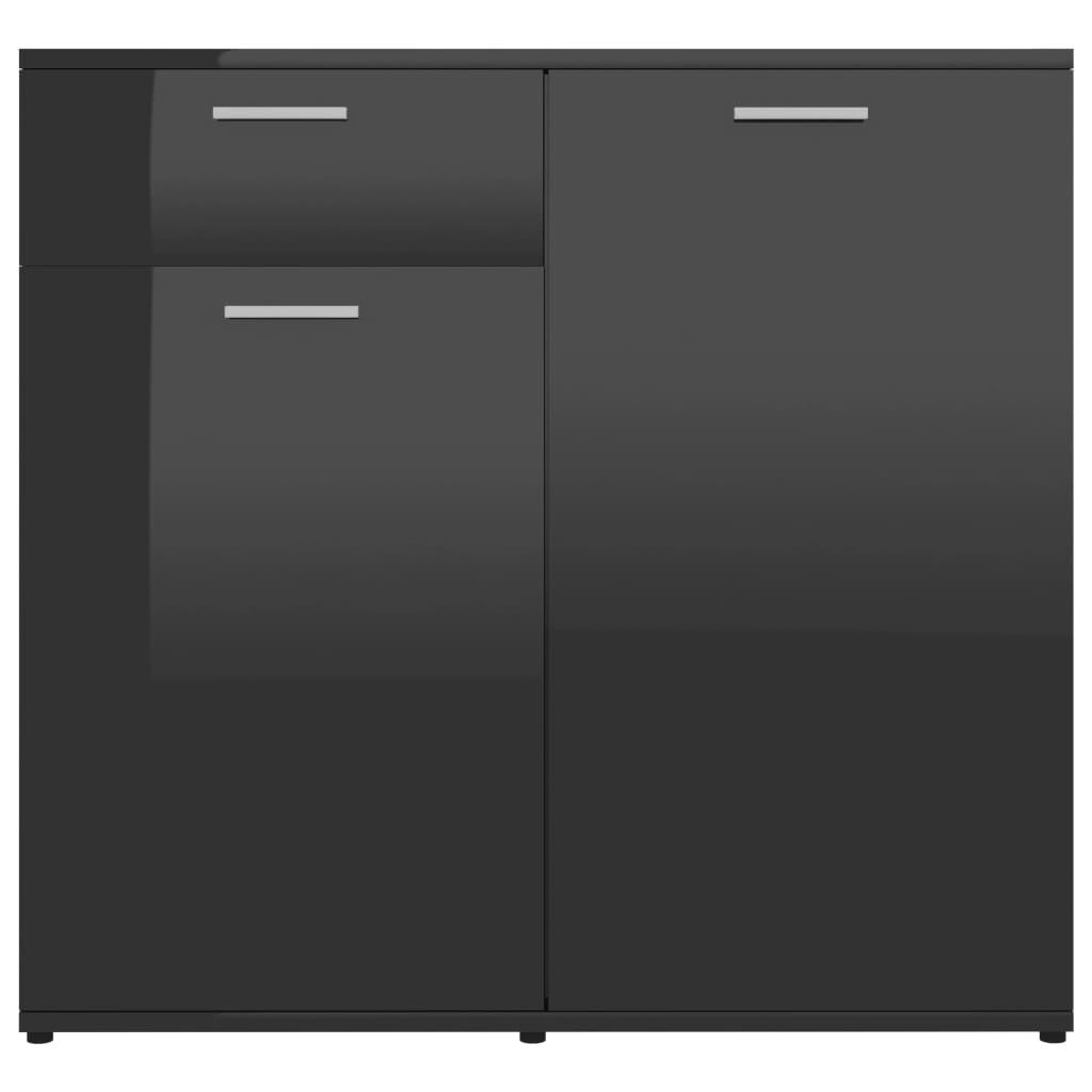 Puhvetkapp, kõrgläikega, must 80 x 36 x 75 cm, puitlaastplaat