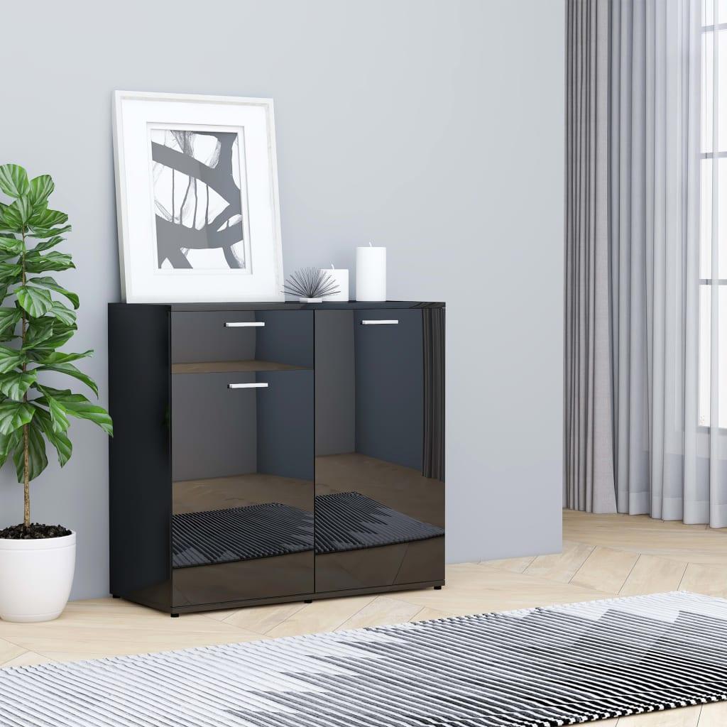 Puhvetkapp, kõrgläikega, must 80 x 36 x 75 cm, ..