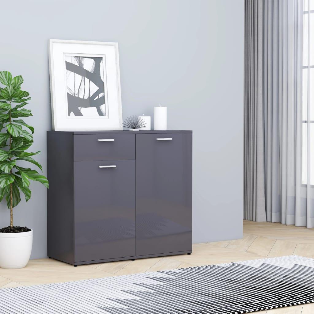 vidaXL Příborník šedý s vysokým leskem 80 x 36 x 75 cm dřevotříska