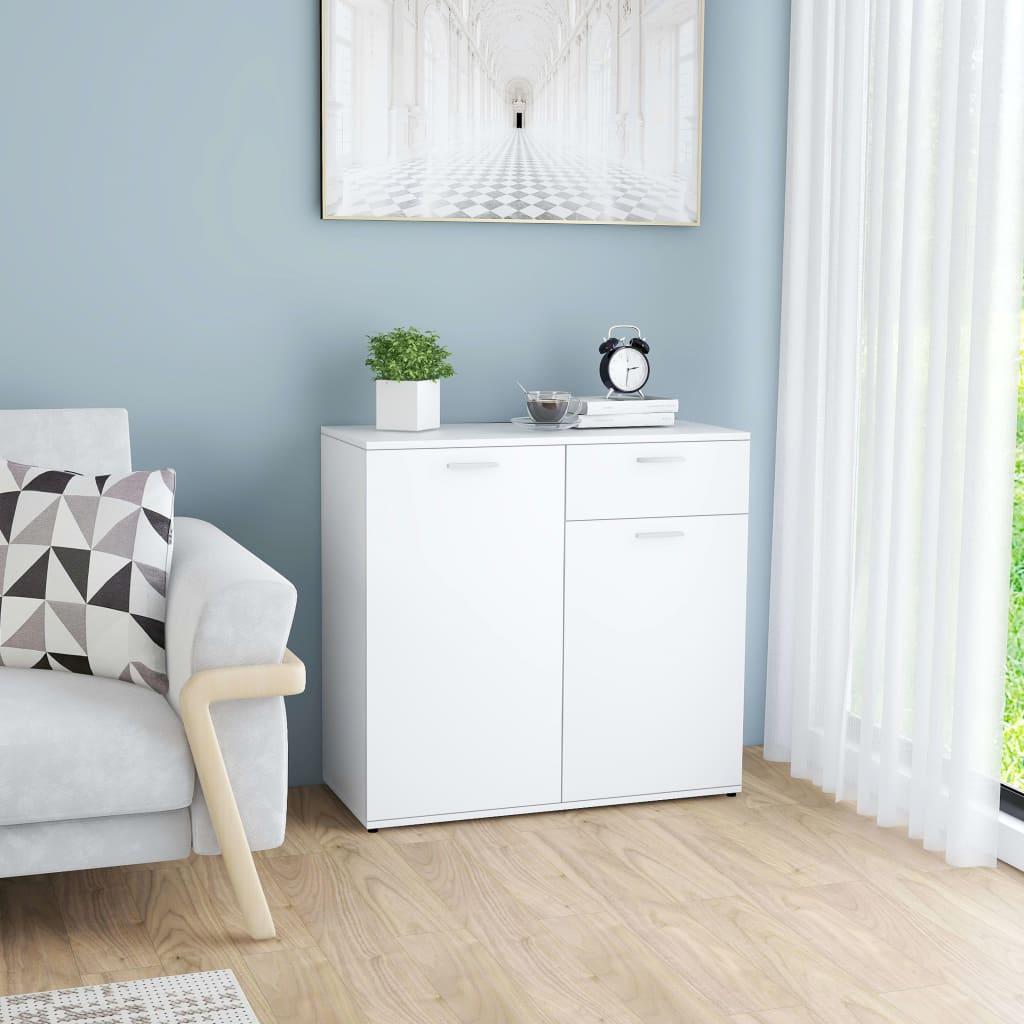 Puhvetkapp valge 80 x 36 x 75 cm, puitlaastplaat