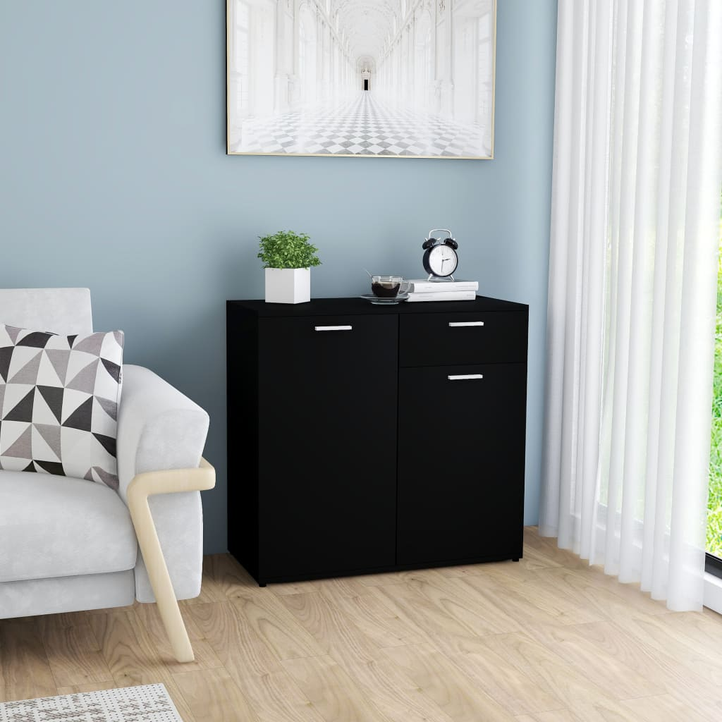 vidaXL Příborník černý 80 x 36 x 75 cm dřevotříska