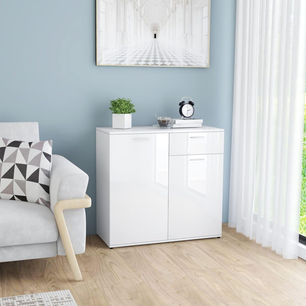 vidaXL Příborník bílý s vysokým leskem 80 x 36 x 75 cm dřevotříska