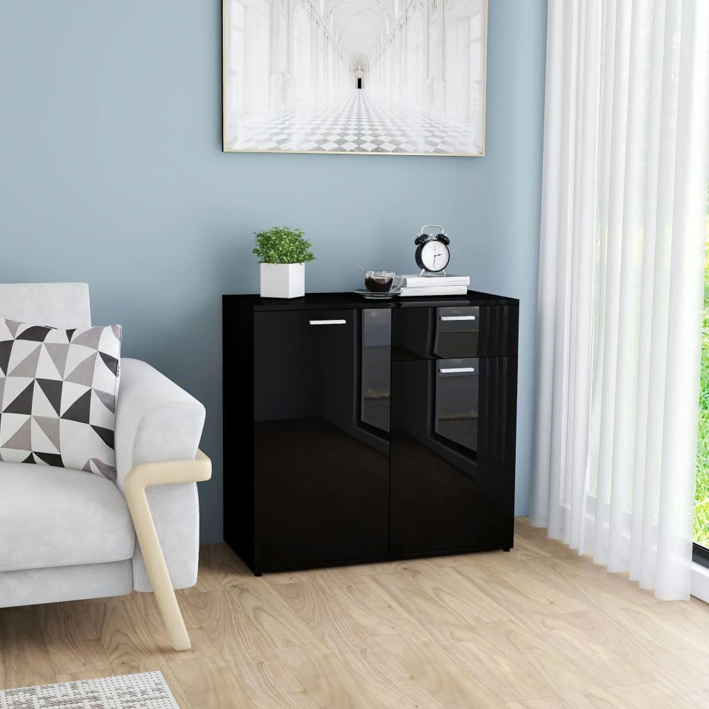 vidaXL Příborník černý s vysokým leskem 80 x 36 x 75 cm dřevotříska