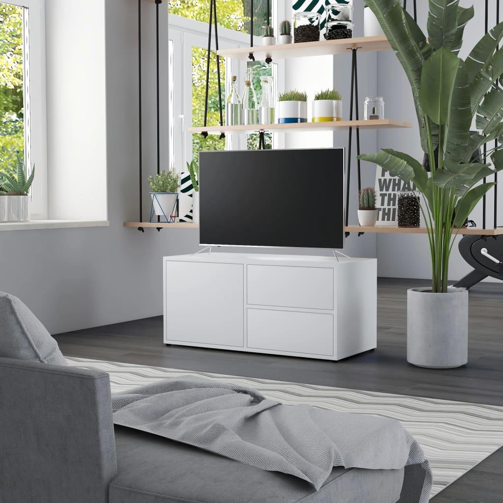 TV stolek bílý 80 x 34 x 36 cm dřevotříska