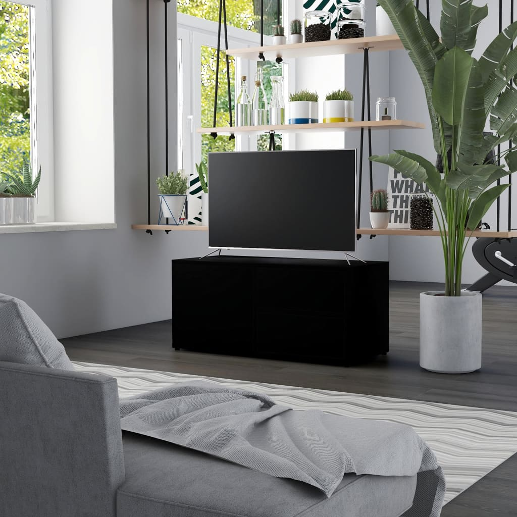 TV stolek černý 80 x 34 x 36 cm dřevotříska
