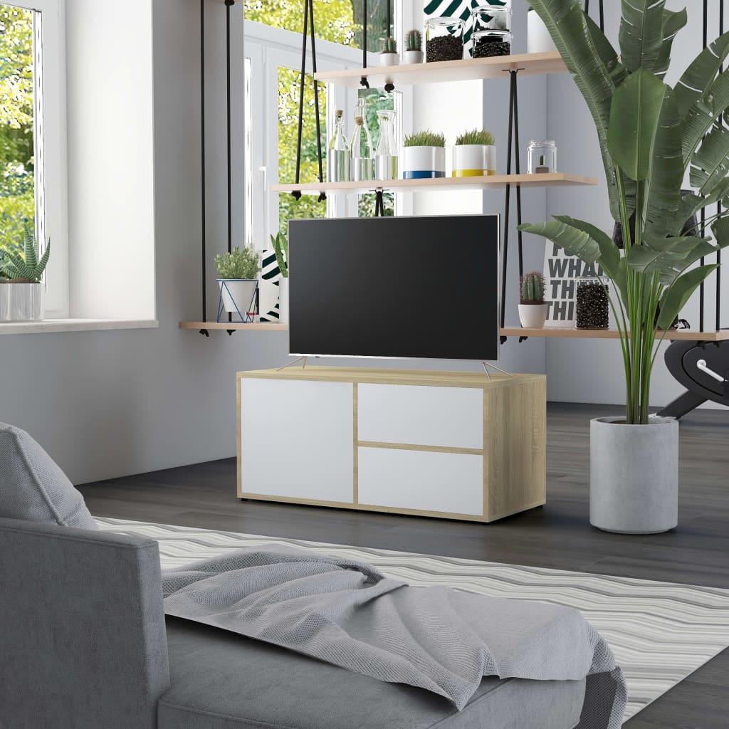 TV stolek bílý a dub sonoma 80 x 34 x 36 cm dřevotříska