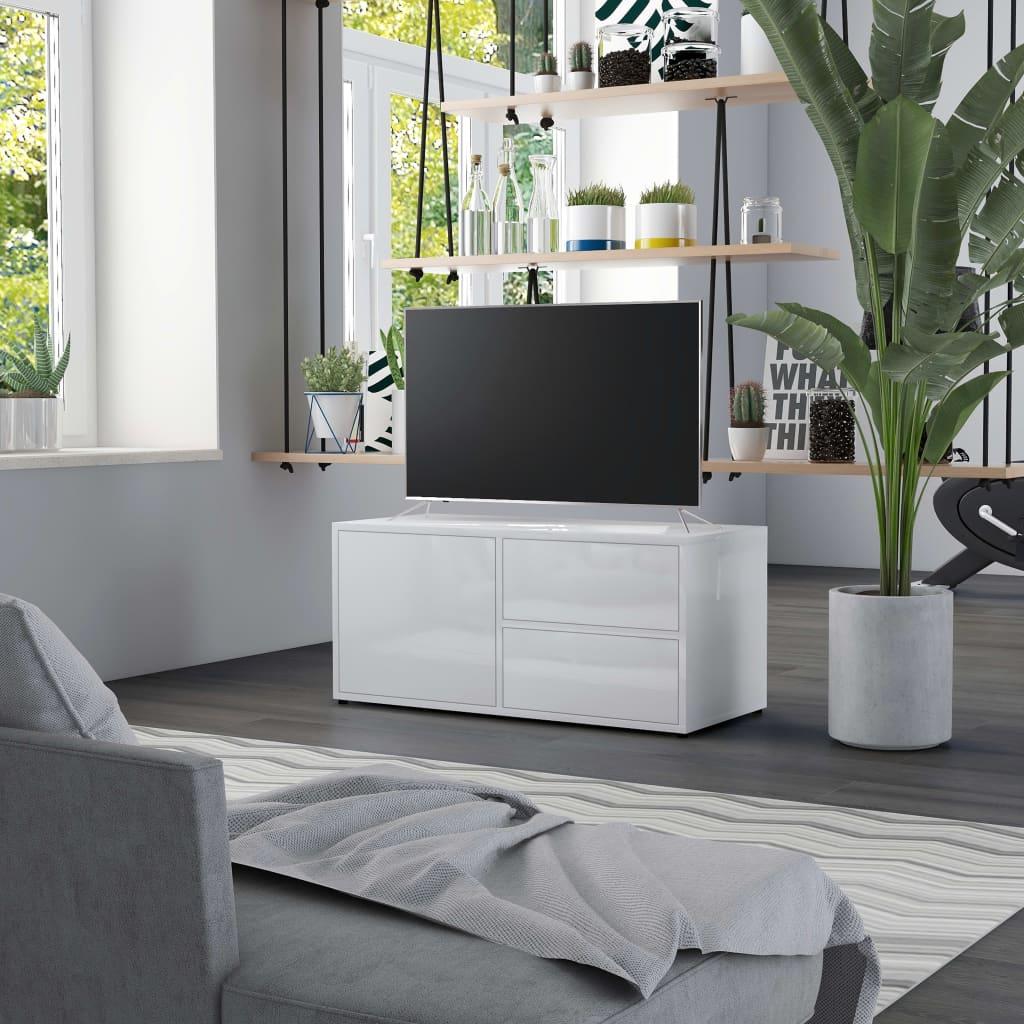 TV stolek bílý s vysokým leskem 80 x 34 x 36 cm dřevotříska