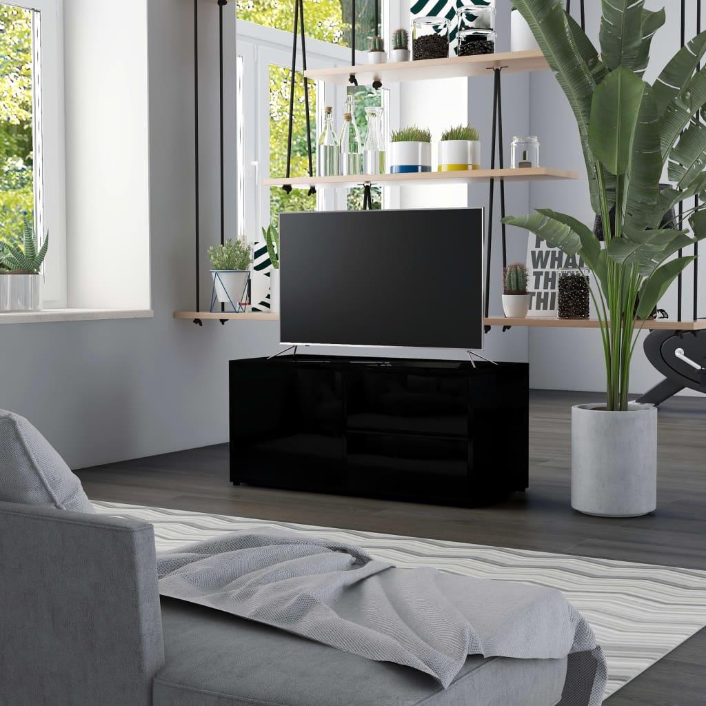 TV stolek černý s vysokým leskem 80 x 34 x 36 cm dřevotříska