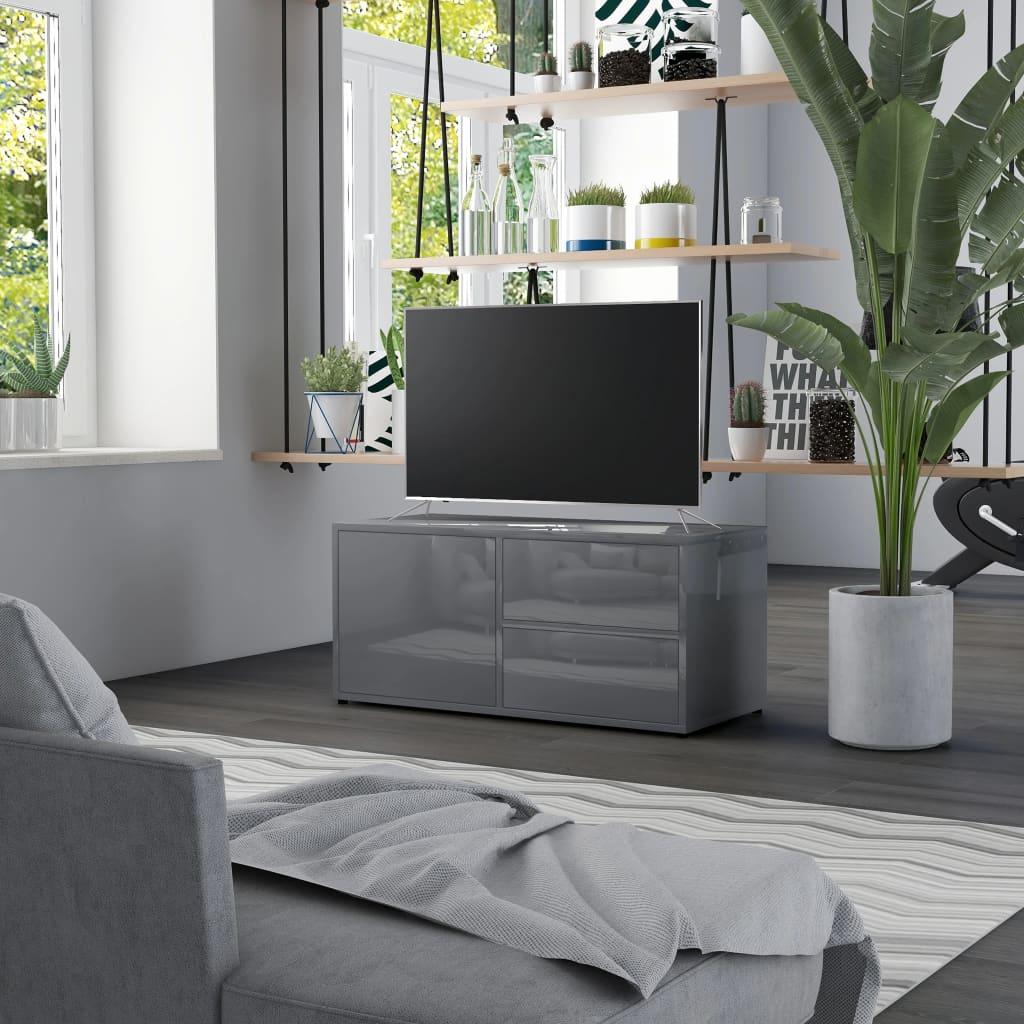TV stolek šedý s vysokým leskem 80 x 34 x 36 cm dřevotříska