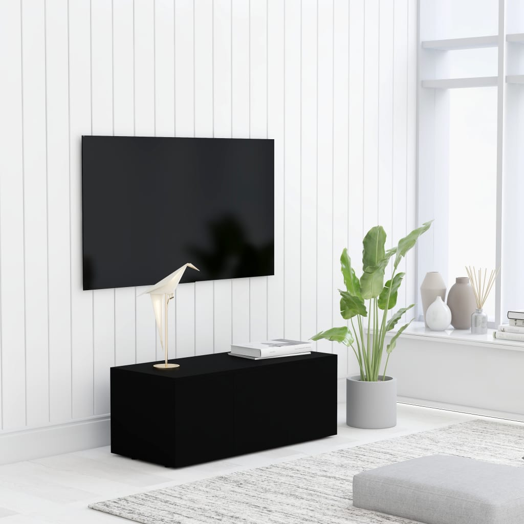 TV stolek černý 80 x 34 x 30 cm dřevotříska