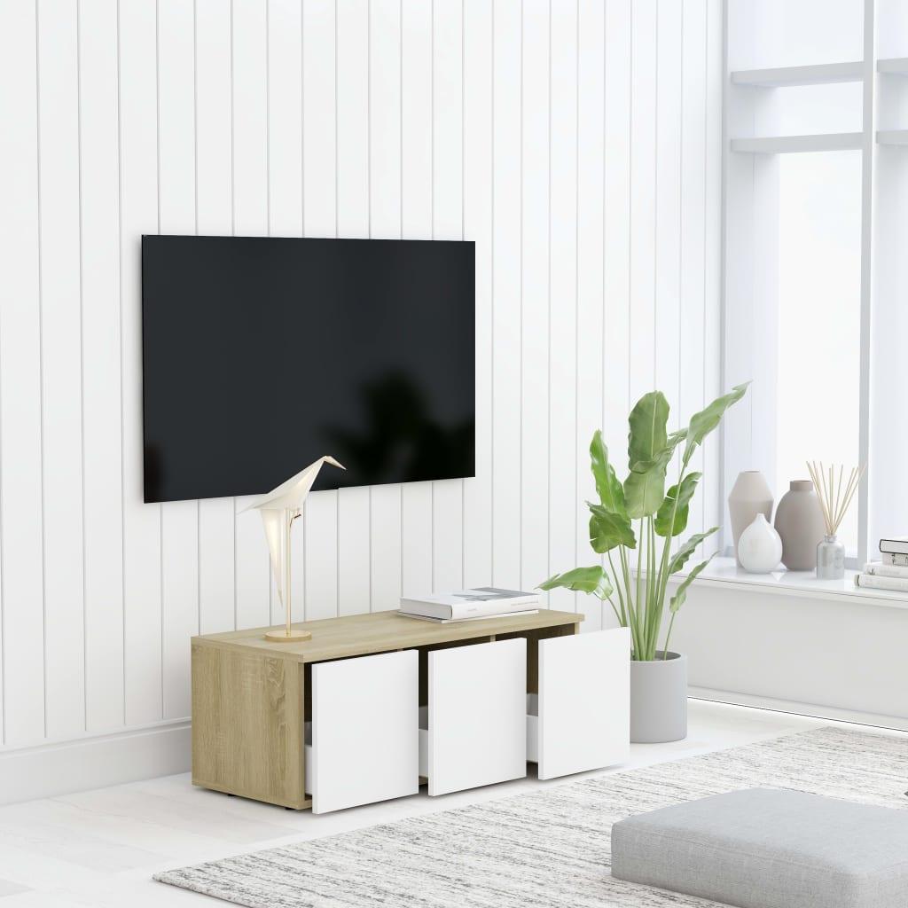TV stolek bílý a dub sonoma 80 x 34 x 30 cm dřevotříska