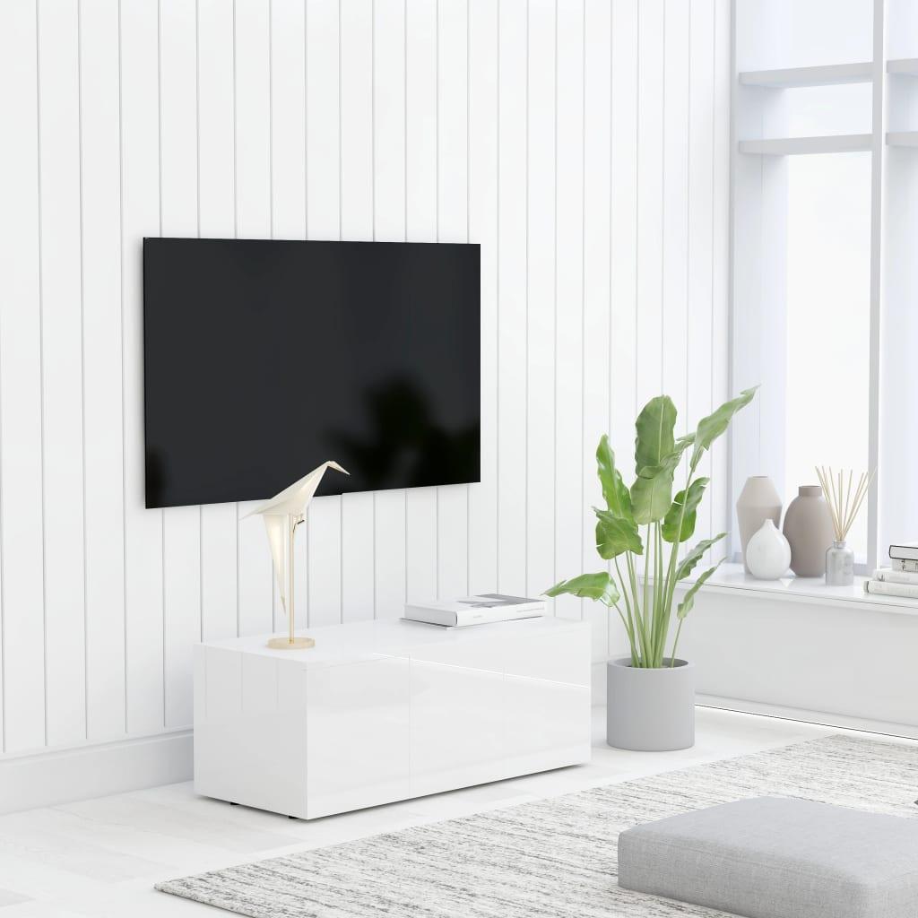TV stolek bílý s vysokým leskem 80 x 34 x 30 cm dřevotříska