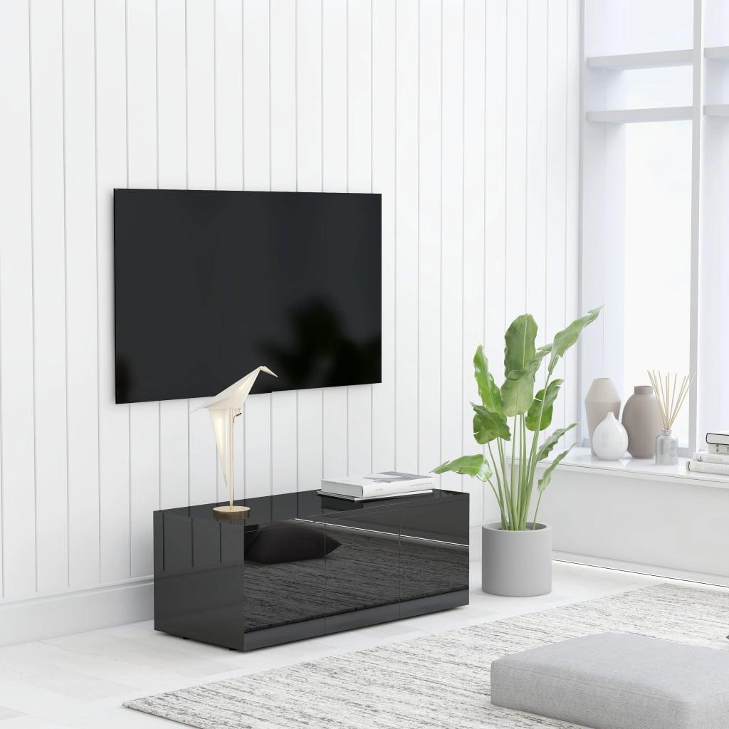 TV stolek černý s vysokým leskem 80 x 34 x 30 cm dřevotříska