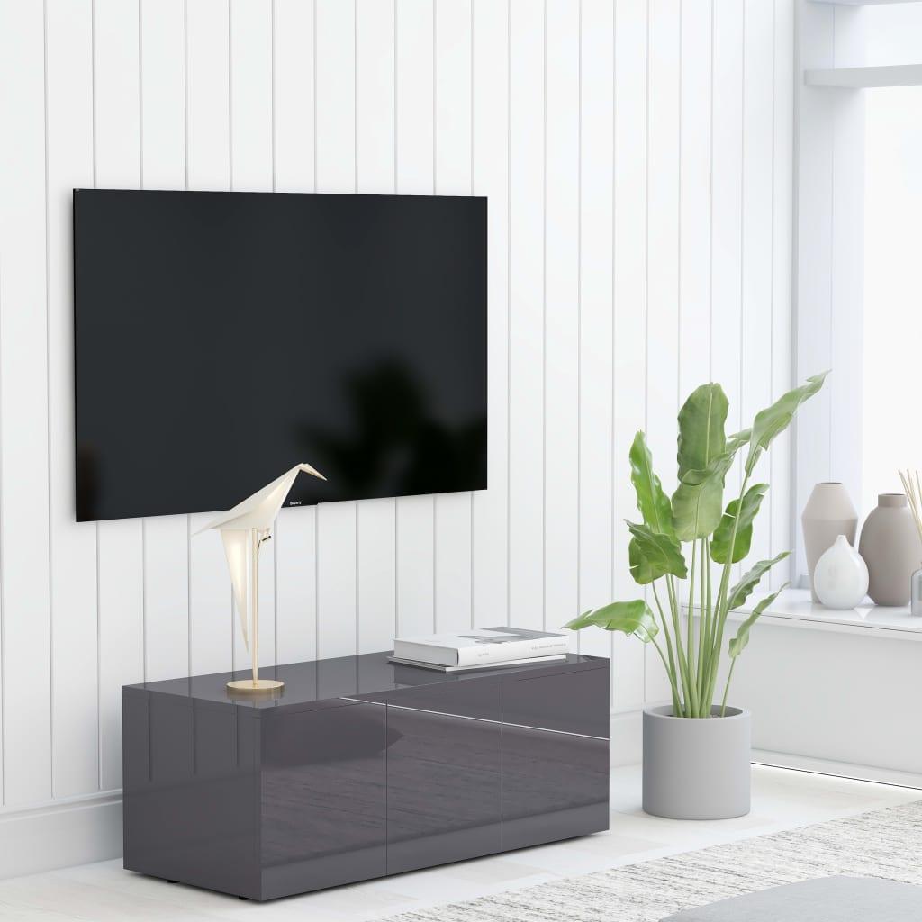 TV stolek šedý s vysokým leskem 80 x 34 x 30 cm dřevotříska