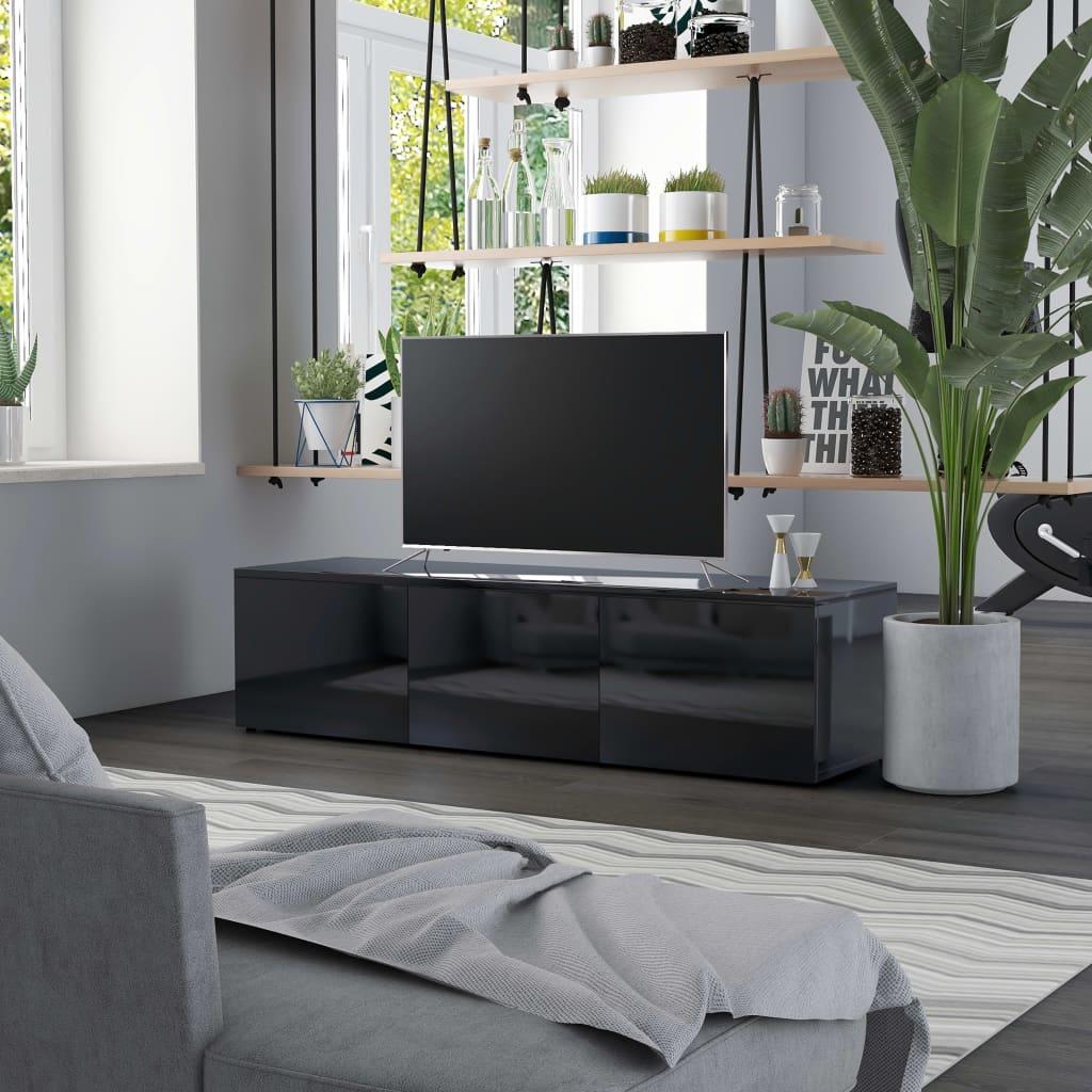 vidaXL Comodă TV, negru extralucios, 120 x 34 x 30 cm, PAL poza 2021 vidaXL