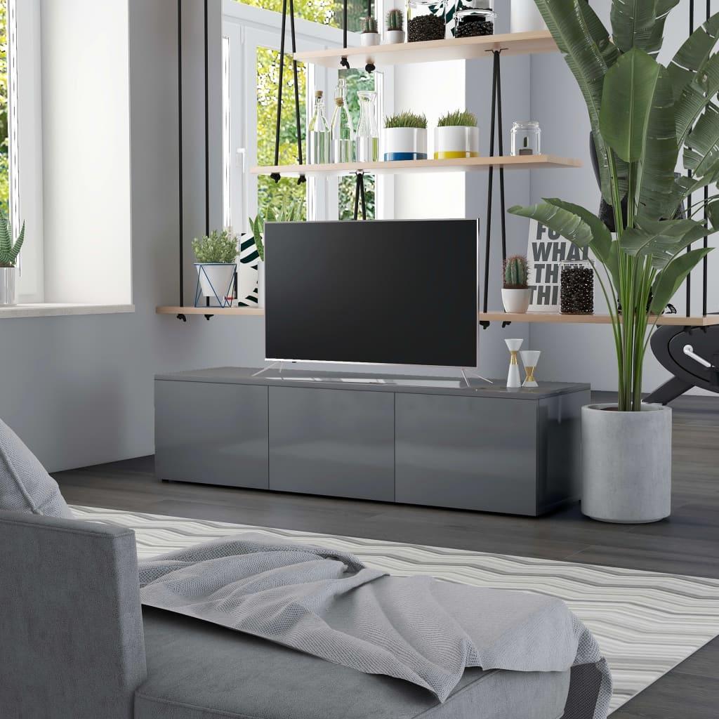 vidaXL Comodă TV, gri extralucios, 120 x 34 x 30 cm, PAL poza vidaxl.ro
